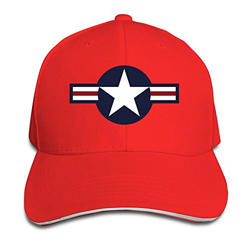 Us Air Force Logo Red Adjustable Flat Caps Unisex Sandwich Hats ()