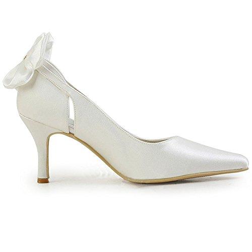 Minishion Gymz700 Vrouwen Slip-on Satijn Avondfeest Prom Bruids Schoenen Pompen Sandalen Flatfs Ivoor-7cm Hak