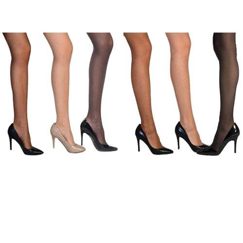 929cac2a51285 Women Silky Nylon Pantyhose Stocking - Vivien Comfortable Sheer Reinforced  Toe Stockings