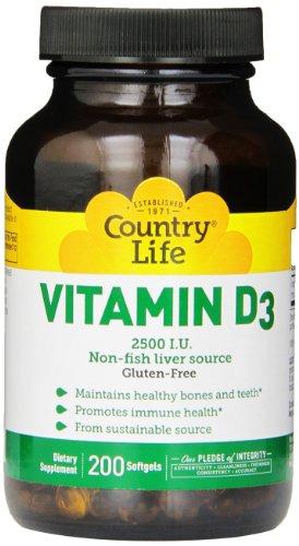 Pays vie vitamine D3 2500 IU gélatineuses molles, plus gros, 200 sg, comte 200