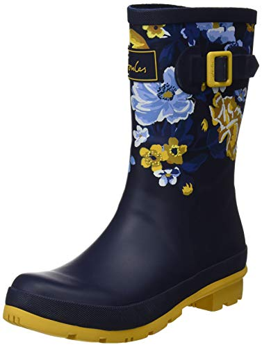 Joules Women's Molly Welly Navy Botanical Knee-High Rubber Rain Boot - 10M