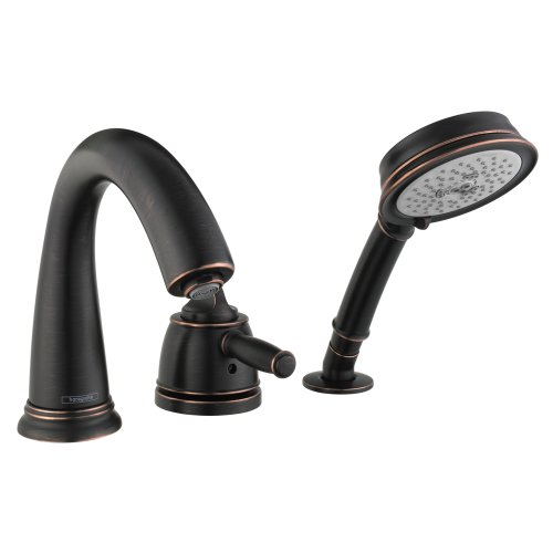 Hansgrohe 04134920 Swing C 3-Hole Thermostatic Tub Filler Trim, Rubbed (Hansgrohe Swing Roman Tub Faucet)
