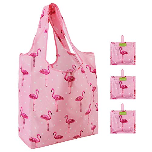 Flamingo Groceries Bags Bulk 3 Pack Folding Convenient with Attached Pouch Rip-stop Nylon Fabric Large 50 Lbs Cute Animal Pattern Reusable Bags for Shopping (Pink) (Flamingo Fabric)