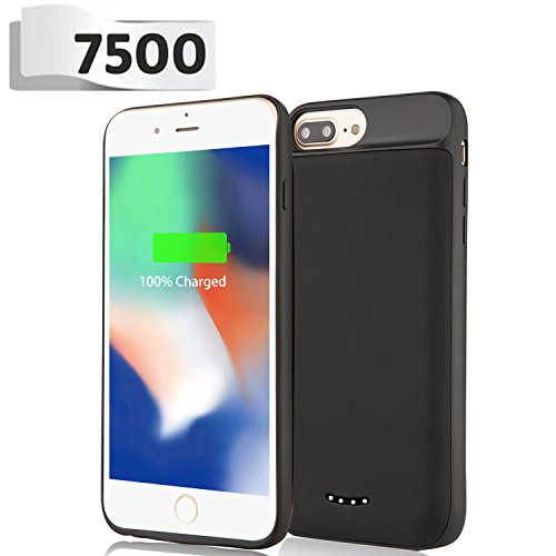 iPhone 8 Plus/7 Plus/6S Plus/6 Plus Battery Case - BeeFix 7500mAh Rechargeable Extend Portable Power Charger Protective Charging Case Cover for iPhone 8 7 6S 6 Plus 5.5 inch (Black)