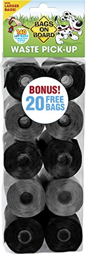 Bags On Board Dog Poop Bags | Strong, Leak Proof Dog Waste Bags | 9 x14 Inches, 140 Black and Grey Bags