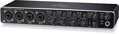 BEHRINGER UMC 404HD Audiophile 4X4 24-Bit/192 KHz USB Audio/Midi Interface with Midas Mic Preamplifiers Black