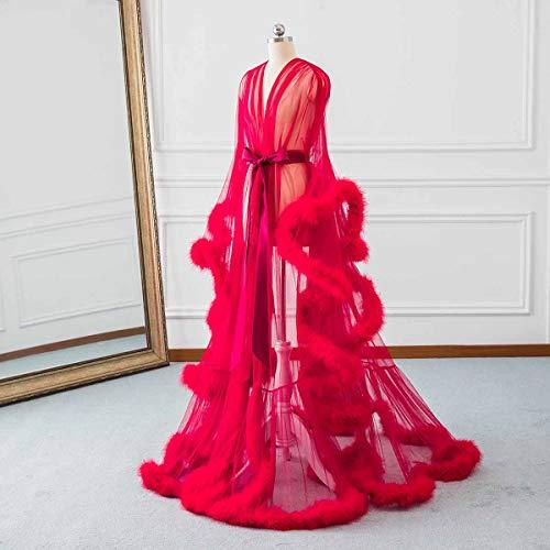 Da Sposa Rossa Lunga Da Sexy Sposa Illusione Changuan Pigiameria Camicia Piuma Veste Notte Veste Accappatoio Sciarpa Biancheria Da 7R18wq