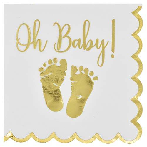 100 Baby Shower Napkin Oh Baby Luncheon Napkins with Scalloped Edge 3-Ply Gold Feet Footprints on White Paper Napkin for Boy & Girl Gender Reveal Party Supplies Decoration Accessories by Gift Boutique ()
