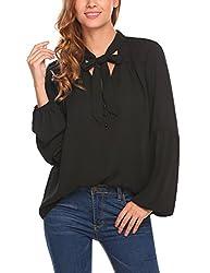 Se Miu Womens Casual V Neck Long Sleeve Chiffon Top Shirts Blouses Black Xl