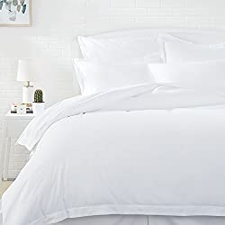 AmazonBasics Microfiber Duvet Cover Set - Twin/Twin XL, Bright White