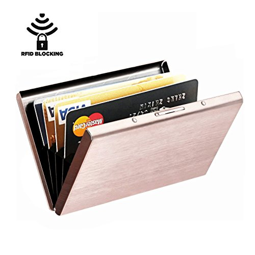 Best RFID Blocking Wallet for Men and Women, Secure Protection for Travel and Work, for Credit cards, Business Cards, ID Card and Driver License, Top Stainless Steel Metal Slim Wallet N-Rose Gold