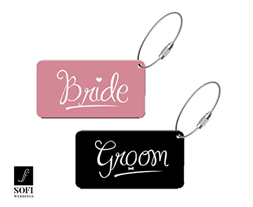Elegant Bride Groom Metal Luggage Tags for Wedding Gift & Bridal Shower (Matrix Shipping Labels)