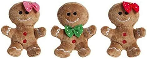 Pack of 3-10cm Plush Gingerbread Man /& Lady Soft Toys with Various Bows Christmas Decorations Christmas Soft Toys