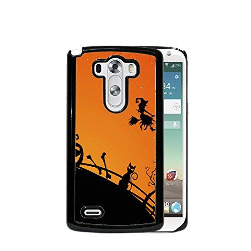 Halloween Theme Witch in Sky Pumpkin Jack O Lantern Black Cat Orange Back (2015 MODEL) LG G4 Hard Plastic Phone -