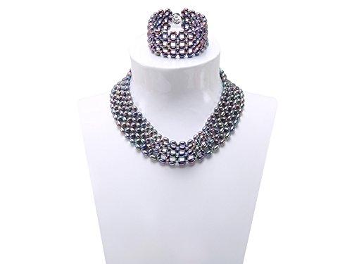 JYX Pearl Jewelry Set Black Woven Freshwater Pearl Necklace Bracelet Set (9mm Black Pearl Necklace Bracelet)