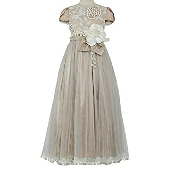 Pamina Gown For Girls - 9-10 Years, Beige