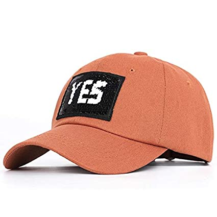0702dba78f2b9 Amazon.com  Funnmart 2019 Yes Letter Fashion Sequin Baseball Cap Ladies  Trend Hip Hop Hat Spring Man Woman Adjustable YES Letter Casual Sport Solid  Shiny ...
