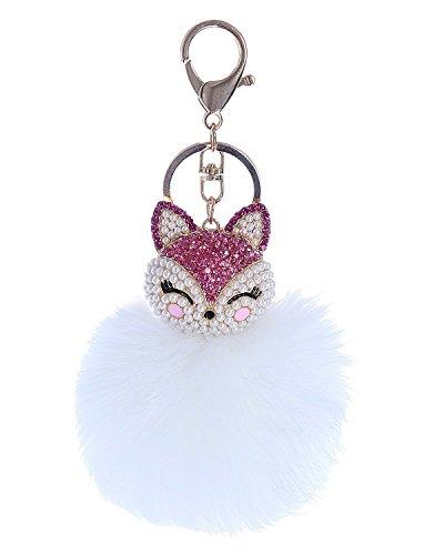Century Star Cute Fox Fur Ball Poms Car Ring Bag Charm Key Chain White
