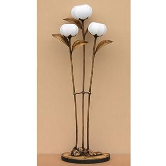 Stehleuchte Reispapier Handgefertigt Motiv Oriental Blumen Rund Braun Asien Deko  Modern Schlafzimmer
