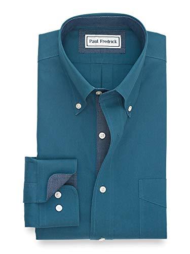 Paul Fredrick Men's Tailored Fit Non-Iron Cotton Solid Dress Shirt Dark Teal 17.5/35 (Fredrick Paul Trim)