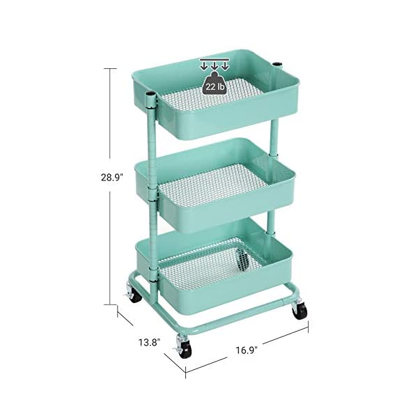 Songmics 3 Tier Metal Rolling Cart Utility Cart Kitchen Cart With Adjustable Shelves Storage Trolley With 2 Brakes Easy Assembly For Kitchen Office Bathroom Mint Green Ubsc60m