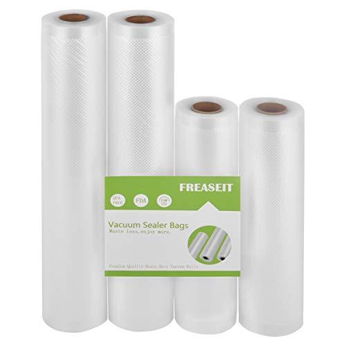 Vacuum Sealer Bag Rolls for Food, BPA Free Heavy Duty Plastic Sealer Vacuum Packing Bags for Foodsaver (2 Packs) (8″x16.5′ and 11″x16.5'(4 pack))