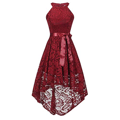 DEATU Bridesmaid Lace Dress Women Sleeveless/Long Sleeve Formal Ladies Wedding Bridesmaid Lace Long Dress(E-Red ,XXL) -