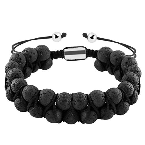 Maromalife Lava Stone Diffuser Bracelet Adjustable Double Row Genuine Lava Stone Bracelet Yoga Diffuser Bracelet Meditation Bracelet