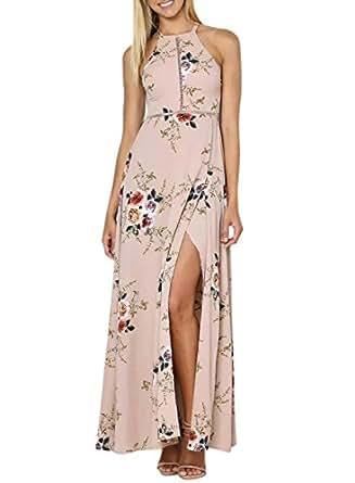 Azbro Women's Elegant Halter Neck Floral Print Maxi Dress, Khaki S