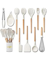Bolergift Silicone Kitchen Utensils, Cooking Utensils with Wood handle, Set of 11 Heat-Resistant Non-Stick Turner, Whisk, Spoon,Brush,Spatula, Ladle, Slotted turner, Tongs, Pasta Fork,Brush and Plastic Holder