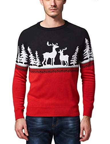 SSLR Men's Crew Neck Pullover Ugly Christmas Sweater (Large, Red Black) (Sweater Ugly Christmas Competition)