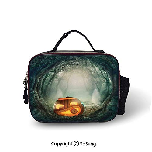 Halloween Decorations Leakproof Reusable Insulated Cooler Lunch Bag Scary Halloween Pumpkin Enchanted Forest Mystic Twilight Party Art Picnic Hiking Beach Lunch bag,10.6x8.3x3.5 inch,Orange Teal -