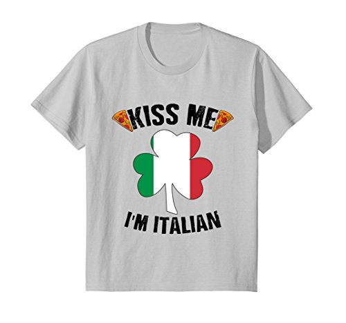 Price comparison product image Kids Kiss Me I'm Italian T shirt for Men and Women 6 Silver