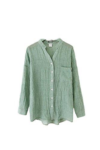 La Mujer Casual 3 / 4 Manga Boton Stand Collar Suelta De Algodón Camisa De Lino Blusa Asimetrica Top Green