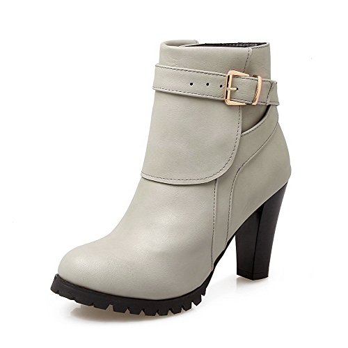 Allhqfashion Women's Low Top Solid Buckle Round Closed Toe High Heels Boots Gray d4EfnCGZN