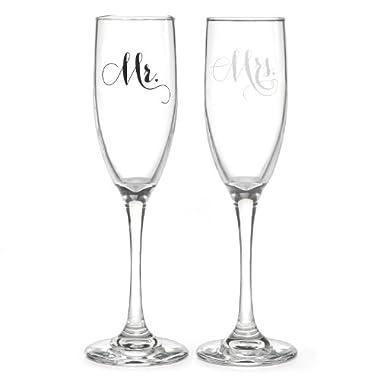 Hortense B Hewitt Wedding Mr and Mrs Elegant Champagne Flutes, Set of 2