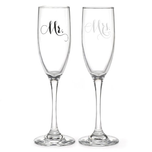 Hortense B Hewitt Wedding Mr and Mrs Elegant Champagne Flutes, Set of (Stemware Champagne)