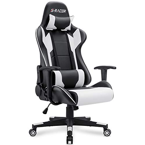 Homall Gaming Chair Office Chair High Back Computer Chair PU Leather Desk Chair PC Racing Executive Ergonomic Adjustable Swivel Task Chair with Headrest and Lumbar Support (White) (Gaming Computer Chair)