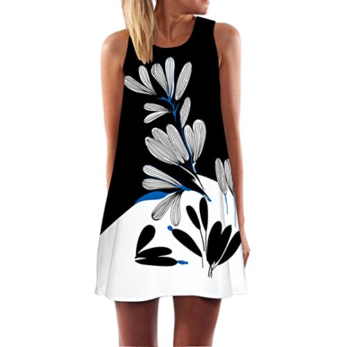 Qisc Womens Dress Summer Dresses Clearance, Womens Sleeveless Mini Floral Printed Vest Beach Sundress (XXL, White Black) (Black Clothing White Womens)