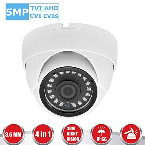 CCTV Dome Security Camera, 5MP TVI/5MP AHD/4MP CVI/960H CVBS 4IN 1 CCTV Camera, 3.6mm Lens, 18 IR LEDs with IR Day & Night Vision, IP66 Weatherproof Analog Dome Security Camera (White)