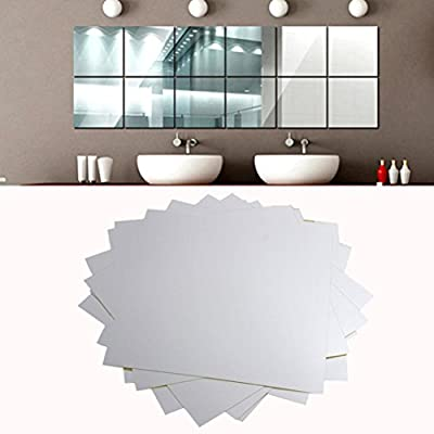 CYCTECH® 16Pcs Mirror Tile Square Self Adhesive DIY Art Decal Wallpaper Removable Stickers Home Decoration