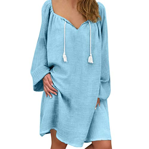 Cork Cotton T-shirt - Xinantime Women's Long Sleeve Cotton and Linen T-Shirts Top Blouse Casual Cozy V-Neck Loose Straight Mini Dress Sky Blue