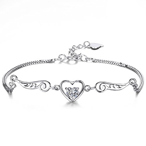 (ZENI 925 Silver Women Bracelet Love Heart Angel Wings with 3A 5mm Cubic Zirconia, Exquisite Gift Package)