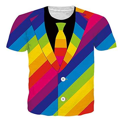 Men's Short Sleeve T-Shirts Funny Pattern Rainbow Striped Tie Print Casual Graphic Tees Cute Summer Tops Clothing