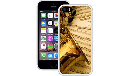 Saxophon | Handgefertigt | iPhone 5 5s SE | Weiß TPU Hülle