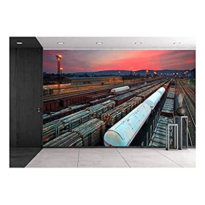 Magnificent Object of Art, Top Quality Design, Cargo Train Platform at Sunset with Container