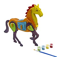 3d Puzzle Art Projects Craft Wood 3d Puzzles for Kids Ages 4-8 Assemble Paint DIY Animal Crafts Horse by Miscy
