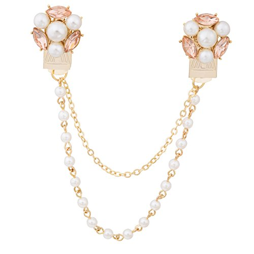 (Fenni CZ Crystal Rose Daisy Pearl Flower Brooch Collar Pins Sweater Cardigan Clips with Pearl Chain (GoldFlowerClip))