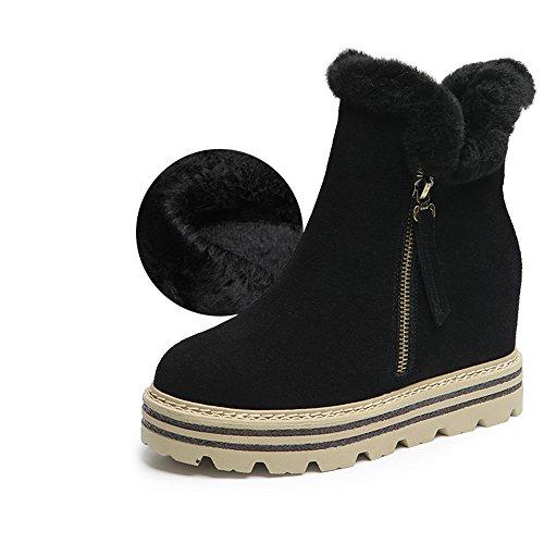 FUFU Damen Stiefel Komfort Mode Stiefel Herbst Winter Wanderschuhe Kleid im Freien flache Ferse flach schwarz / Khaki Black-B