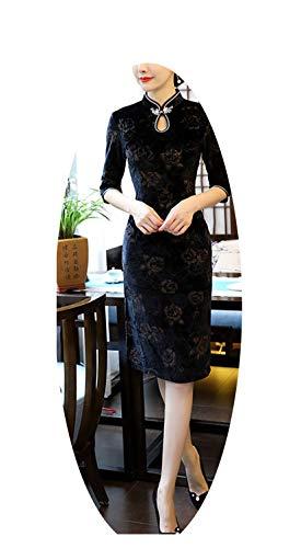 どんよりしたつなぐラフ伝統的な中国のドレス女性秋冬ファッションヴィンテージスリムドレス,ブラックショート,XXXL